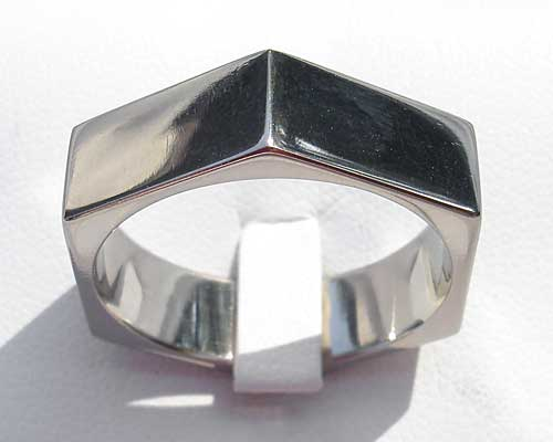 Hexagonal Titanium Ring For Men