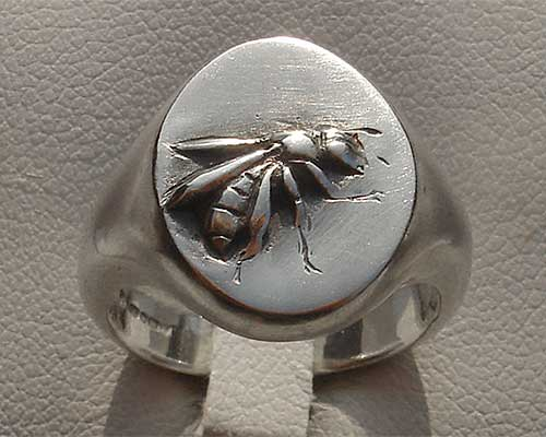 Honey Bee Silver Signet Ring
