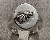 Men's silver ring with a honey bee