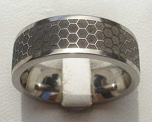 Honeycomb Pattern Titanium Ring For Men