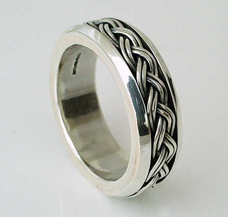 Celtic silver ring with an interlaced design