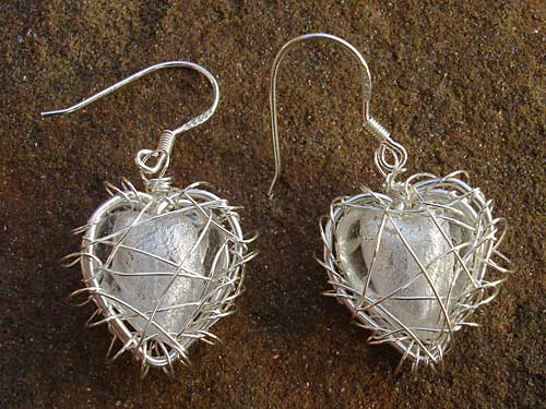 Ivory Hearts in Silver Heart Cage Earrings