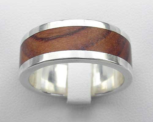 wood inlay silver ring