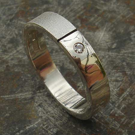 Twin finish sterling silver diamond wedding ring