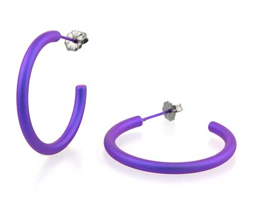 Large purple titanium round hoop earrings