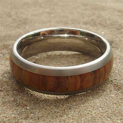 Titanium wood wedding ring