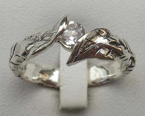 Topaz silver engagement ring