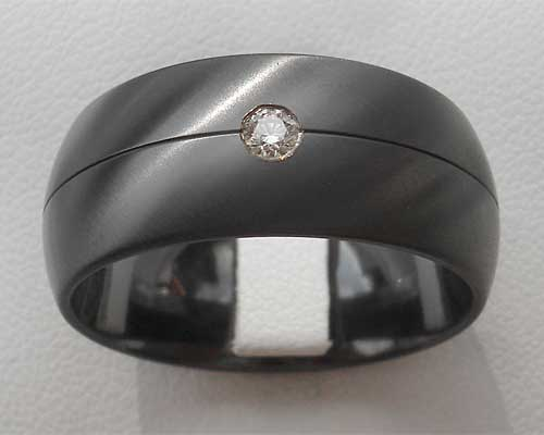 mens diamond set black engagement ring - All Black Wedding Rings