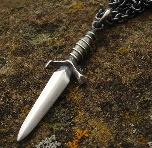 Mens Silver Medieval Dagger Necklace