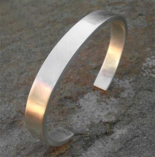 Mens solid silver cuff bracelet