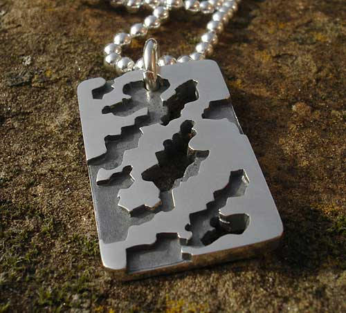 Men's army camouflage silver necklace