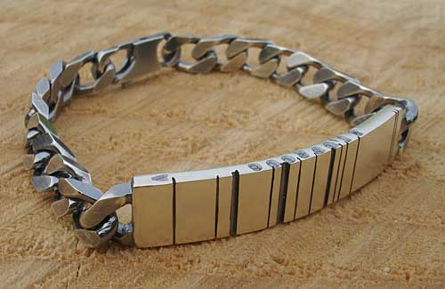 Mens Personalised Barcode Silver ID Bracelet