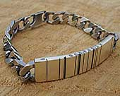 Men's personalised barcode silver ID bracelet