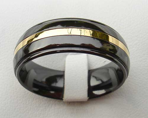 Mens Black & Gold Wedding Ring