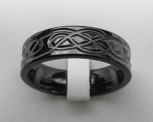 Men's black Celtic wedding ring