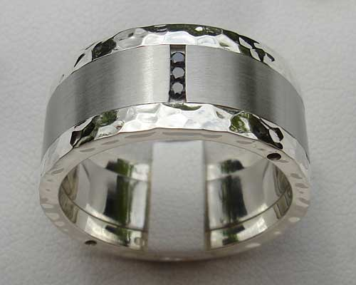 Black Diamonds  Steel & Silver Hammered Ring