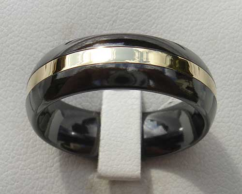 Men's black and gold wedding ring
