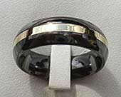 Black and 9ct gold mens wedding ring