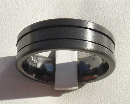 Mens black grooved wedding ring