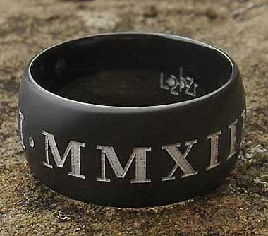 Mens black Roman numeral ring