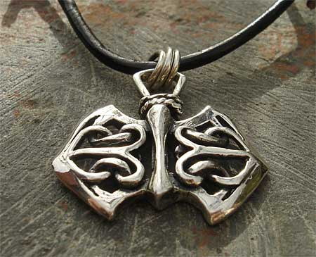 Mens Celtic axehead necklace