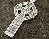 Mens silver Celtic cross necklace