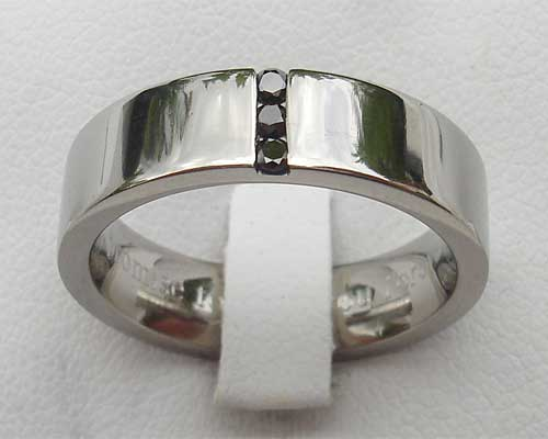 Mens Channel Set Black Diamond Titanium Ring