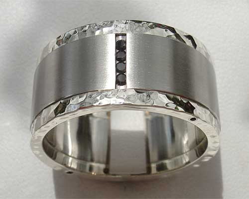 Stainless Steel & Silver Black Diamond Wedding Ring