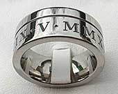 Men's chunky Roman numeral ring