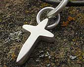 Mens contemporary silver cross necklace