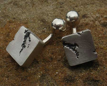 mens contemporary silver cufflinks