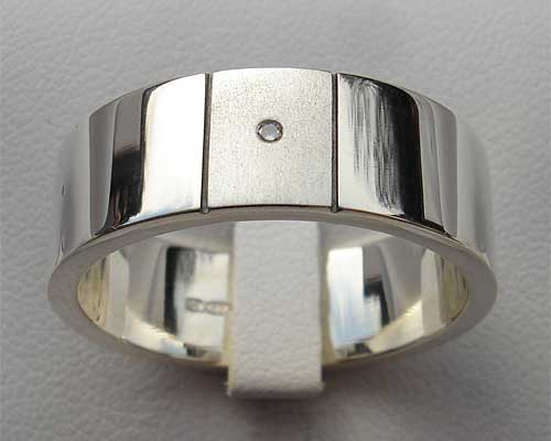 Mens Diamond Two Tone Silver Ring