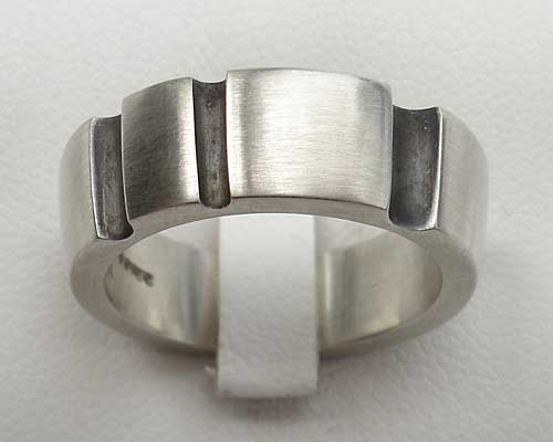 Chunky Mens Silver Contemporary Ring