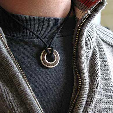 Mens Wood Silver Pendant Necklace LOVE2HAVE in the UK