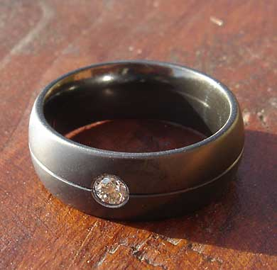 Men's diamond black Gothic ring
