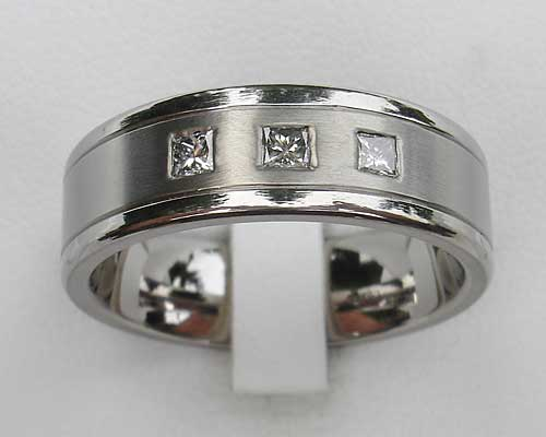 Mens Triple Princess Cut Diamond Titanium Ring
