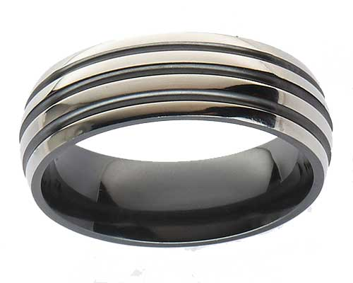 Mens domed grooved wedding ring
