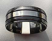Mens domed two tone wedding ring
