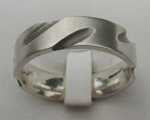 Mens Flat Profile Designer Silver Ring