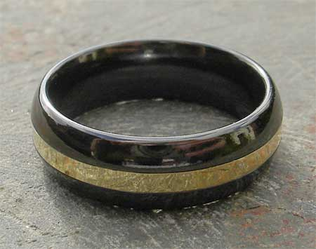 Men's gold and black wedding ring