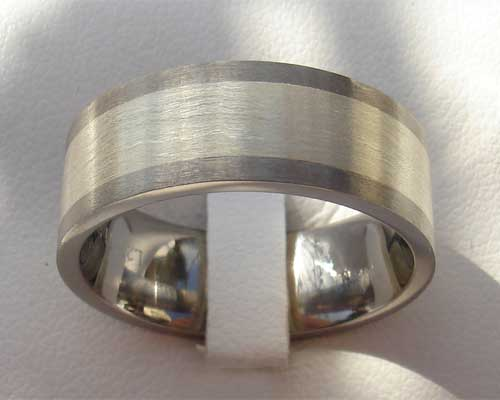 Mens gold inlaid titanium wedding ring