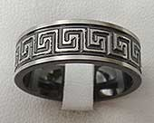 Mens Greek key wedding ring