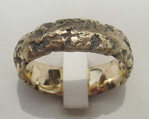 Mens Heavily Textured Gold Wedding Ring