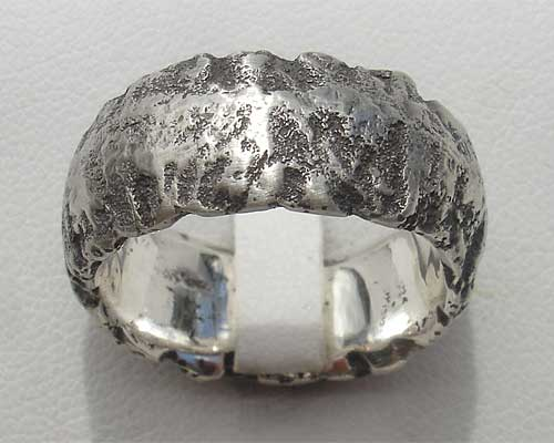 Mens Unusually Heavy Textured Silver Ring
