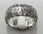Mens heavily textured silver ring