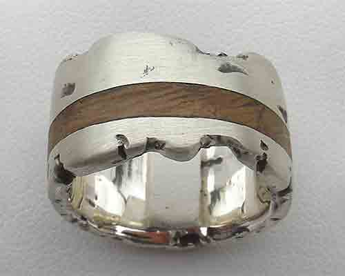Mens silver wooden wedding ring