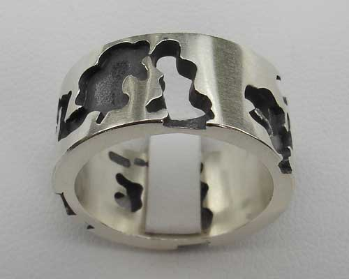 Mens Camouflage Oxidised Silver Ring