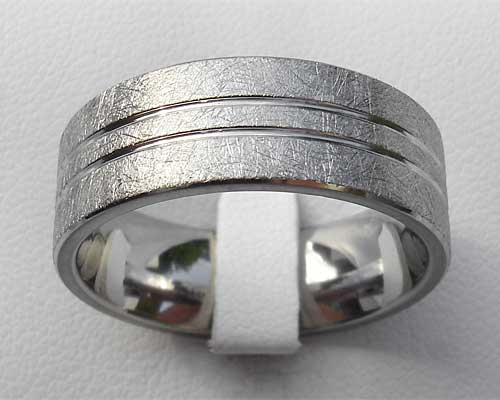 Unusual Scratched Titanium Wedding Ring