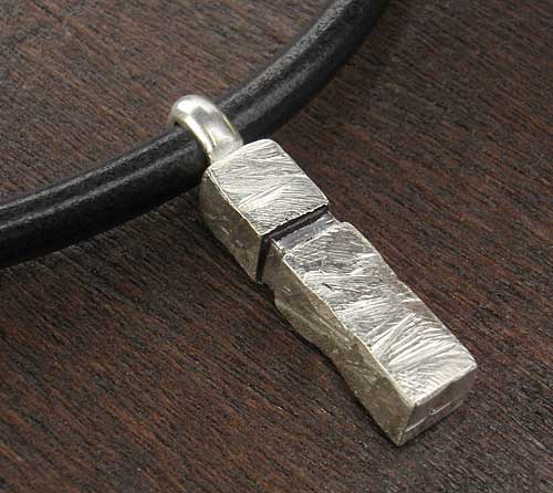 Silver Mens Pendant on Leather Necklace