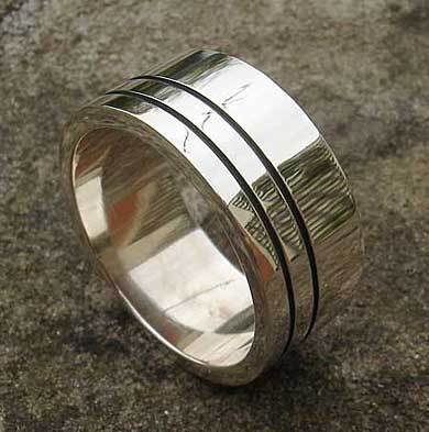 Size S Mens Silver Wedding Ring